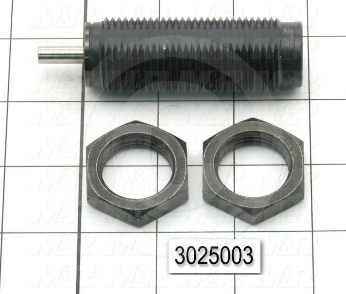 """Shock Absorbers, Self-Compensating Type, 3.35"""" Length, 1-12 Thread Size, 0.50"""" Stroke"""