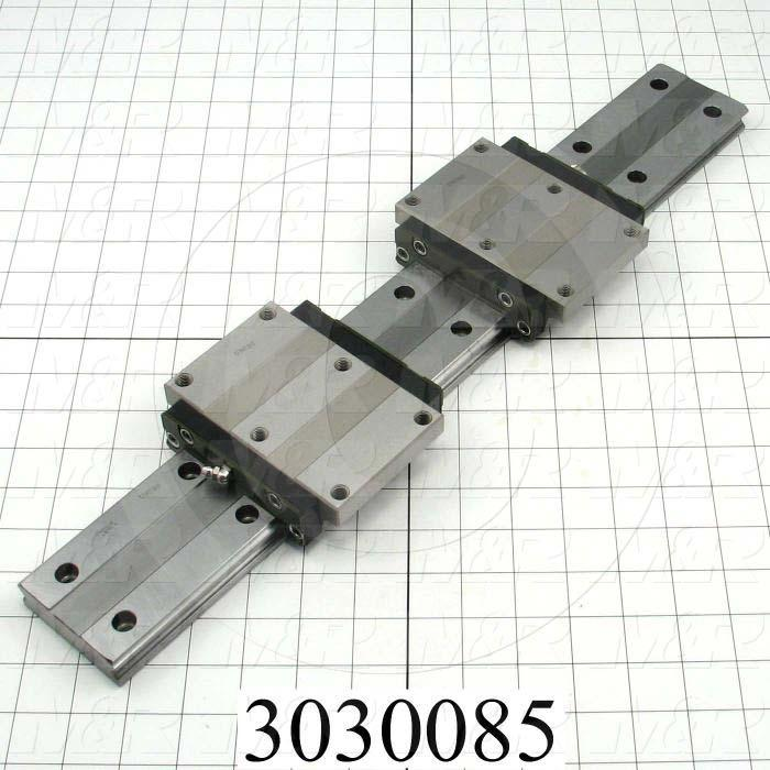 Slide (Rail) Guide, Slide Guide- Set, Steel, 69 mm Width of Rail, 520 mm Length of Rail, 120 mm Width of Block, 107 mm Length of Block, 35 mm Height of the Set - Details