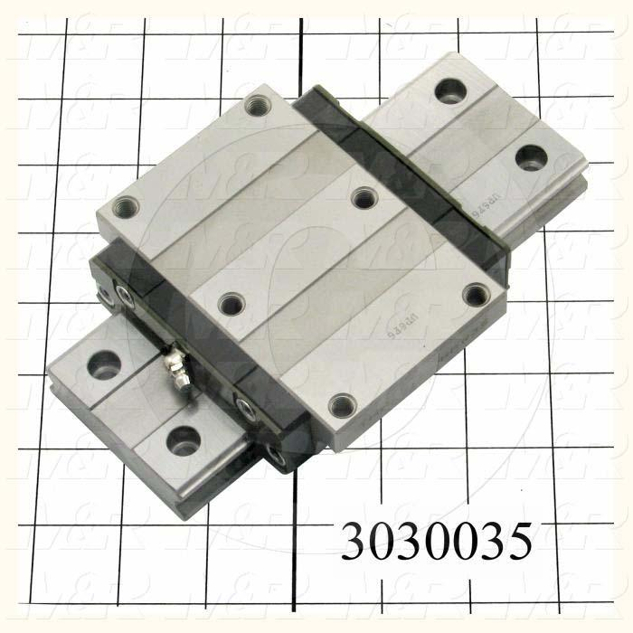 Slide (Rail) Guide, Slide Guide- Set, Steel, High Accuracy, 69 mm Width of Rail, 190 mm Length of Rail, 120 mm Width of Block, 107 mm Length of Block, 35 mm Height of the Set - Details
