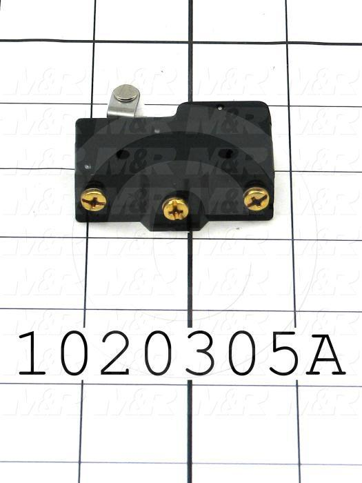 Snap Action Switch, Heavy Duty, SPDT, 125V, 20A, Screw Terminal, Short Hinge Roller Lever