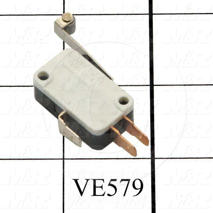 Snap Action Switch, SPDT, 125/250V, 15A, Quick Connection Terminal, Hinge Roller Lever