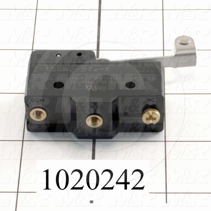 Snap Action Switch, SPDT, 125V, 15A, Screw Terminal, Hinge Roller Lever