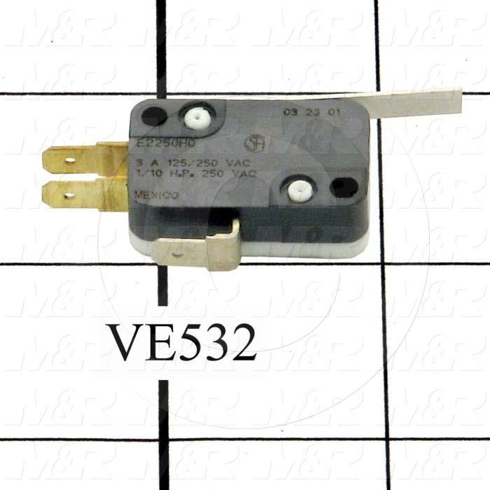 Snap Action Switch, SPDT, 125V, 3A, Quick Connection Terminal, Straight Lever