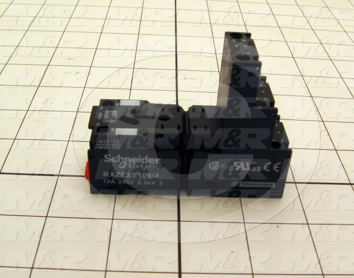 Socket for Relay, 8 Pins, DIN Rail/Panel, Isolated Coil, Use For RXM2 Relays