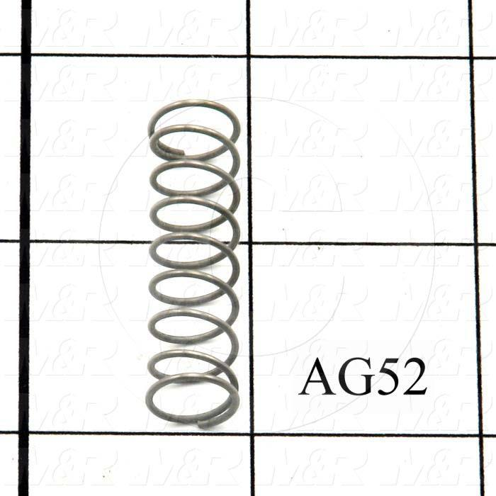 "Springs, Compression Type, 0.035"" Wire Diameter, 0.438 in. Outside Diameter, 1.50 in. Overall Length, 0.32"" Solid Length, 9 Total Coils, Spring Wire Material, Closed Spring Ends"