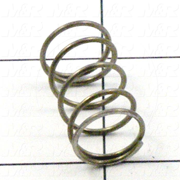 Springs, Compression Type, 0.038 in. Wire Diameter, 0.48 in. Outside Diameter, 0.88 in. Overall Length, 0.21 in. Solid Length, Stainless Steel 302 Material, Closed and Ground Spring Ends