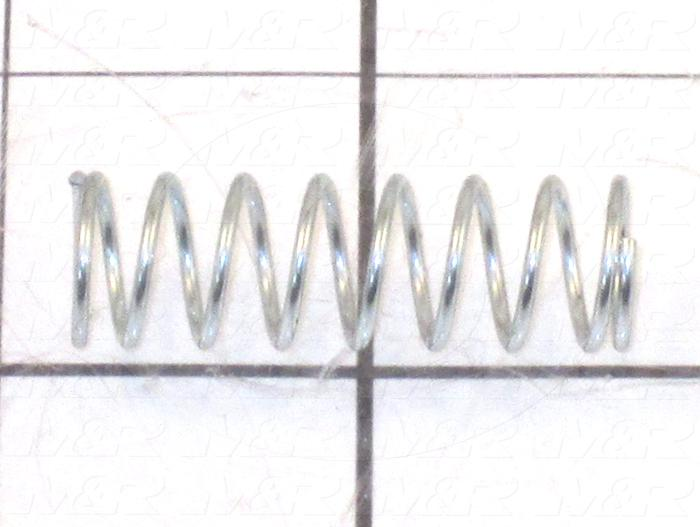 "Springs, Compression Type, 0.045 in. Wire Diameter, 0.48 in. Outside Diameter, 1.50 in. Overall Length, 0.40"" Solid Length, 8.7 Total Coils, Music Wire Material, 6 Lb/In Rate"