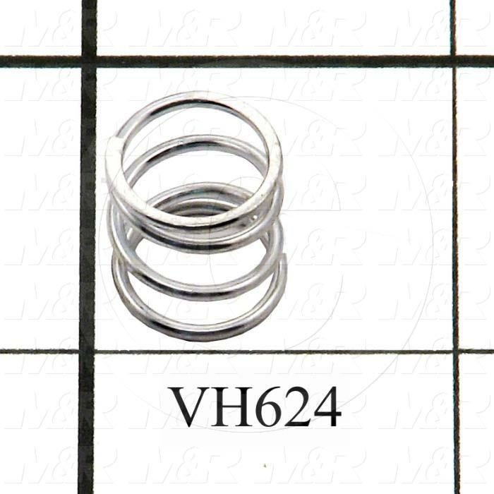 "Springs, Compression Type, 0.045 in. Wire Diameter, 0.500"" Outside Diameter, 0.50 in. Overall Length, 0.192"" Solid Length, 4.1 Total Coils, Spring Wire Material"