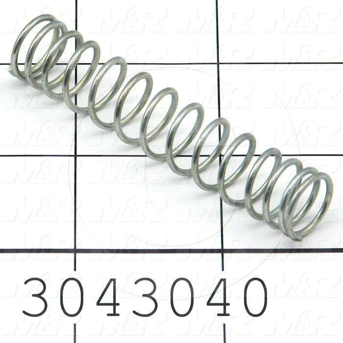 "Springs, Compression Type, 0.047"" Wire Diameter, 0.500"" Outside Diameter, 2.00 in. Overall Length, 0.92"" Solid Length, Spring-Tempered Steel Material, Closed Spring Ends, 6.29 Lb/In Rate"