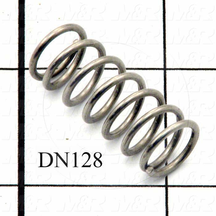 "Springs, Compression Type, 0.055 in. Wire Diameter, 0.500"" Outside Diameter, 1.19"" Overall Length, 7 Total Coils, Stainless Steel Material, Closed Spring Ends"