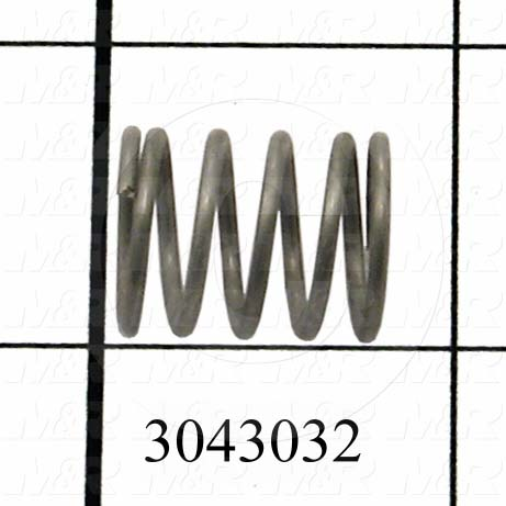 "Springs, Compression Type, 0.055 in. Wire Diameter, 0.600"" Outside Diameter, 0.750"" Overall Length, Music Wire Material, Closed and Ground Spring Ends"