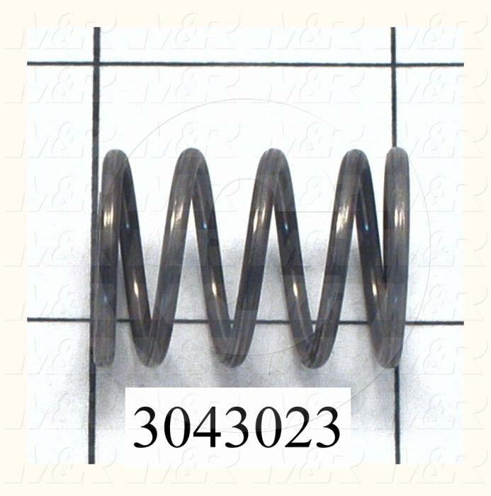 "Springs, Compression Type, 0.072 in. Wire Diameter, 0.720"" Outside Diameter, 1.00"" Overall Length, 0.397"" Solid Length, 5 Total Coils, Closed and Ground Spring Ends, 42.00 Lb/In Rate"