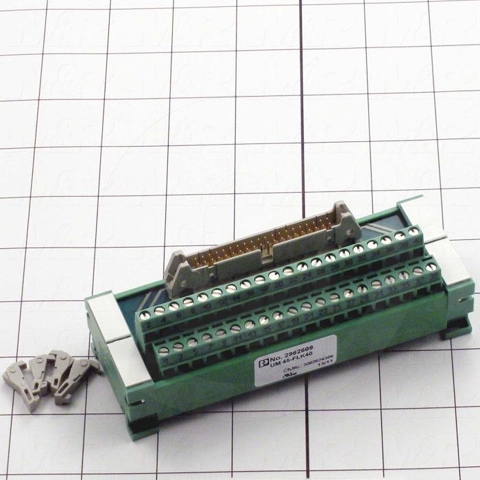 Terminal Block, 40 Pins, With Ribbon Cable Connector