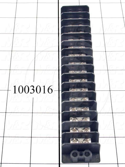 Terminal Block, Strip, 16 Poles, 14AWG