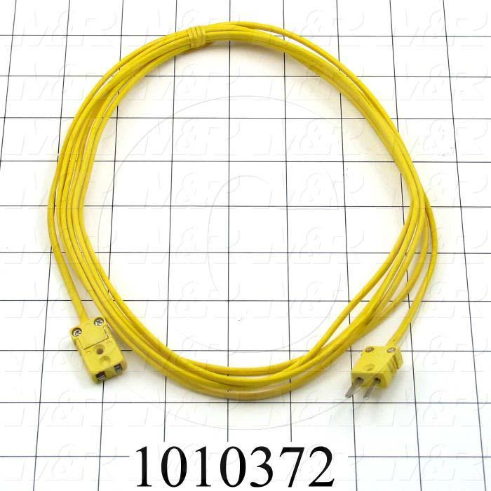 Thermocouple Wire, Extension, With Connectors, 10', Flat Pin Mini, Male to Female, Type K