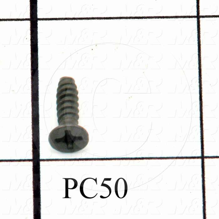 "Thread-Forming, Type B, Head Flat Phillips, Thread Size 6-20, Screw Length 0.50"", Material 1 Steel, Finish Black Oxide"