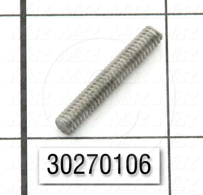"Threaded Rod/Stud, 8-32, 1.00"" Thread Length, Stainless Steel Material"