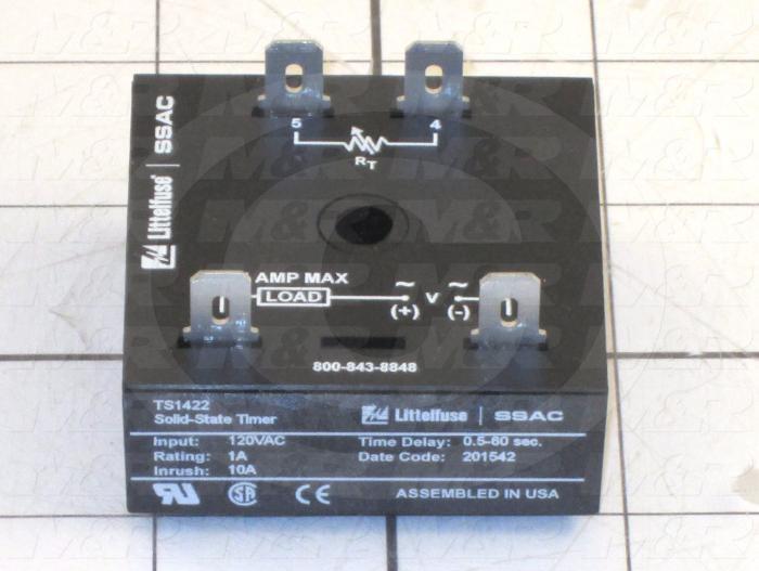 Timer, Solid State Cube Timer, 1-10 Sec Time Range, 120VAC