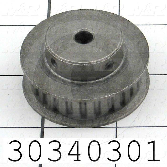 "Timing Belt Pulley, 0.25"" Bore Size, Cylindrical Bore Type, L Tooth Profile, 24 Teeth, 2 Pulley Type, 0.200 in. Pitch, 1.528"" Pitch Diameter, 0.38"" Belt Width"