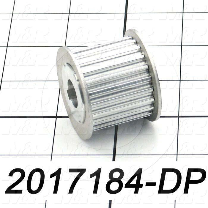 "Timing Belt Pulley, 0.47"" Bore Size, Cylindrical with Keyway Bore Type, 1.25"" Height, Aluminum Material, 25 mm Belt Width, Part of 2017184"
