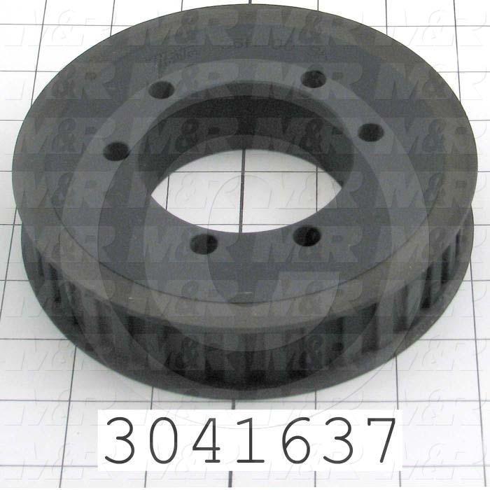 """Timing Belt Pulley, 0.50"""" Bore Size, Split Taper Bushing Bore Type, 36 Teeth, 0.50"""" Pitch, 1.00"""" Belt Width"""