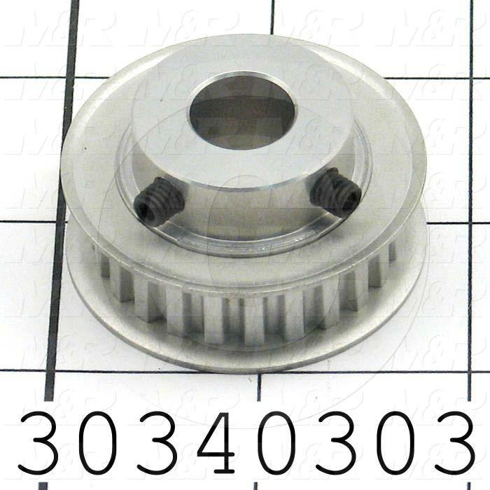 "Timing Belt Pulley, 0.50"" Bore Size, XL Tooth Profile, 24 Teeth, 0.200 in. Pitch, A6A Pulley Type, 1.510"" Pitch Diameter, 1.06"" Height, Aluminum Material, 0.38"" Belt Width"
