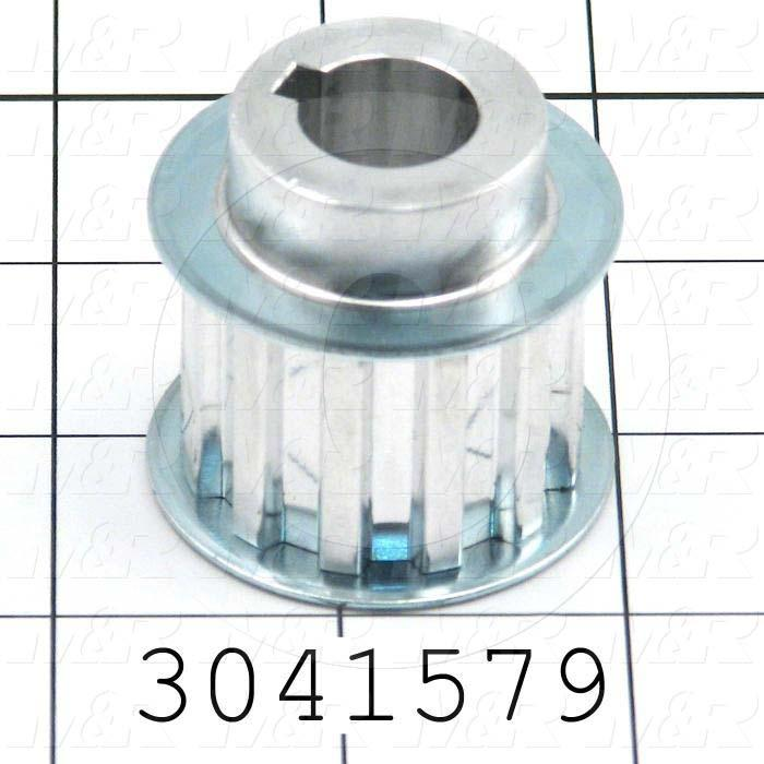 Timing Belt Pulley, 0.63 in. Bore Size, T10 Tooth Profile, 12 Teeth, 10 MM Pitch,  42 mm Pitch Diameter, 21 MM Height, Aluminum Material, 25 mm Belt Width