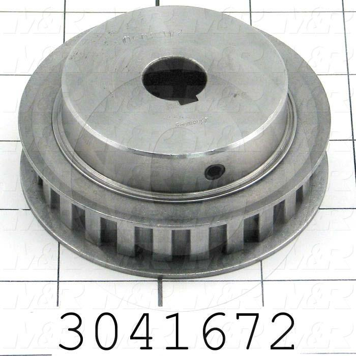 "Timing Belt Pulley, 0.75"" Bore Size, Cylindrical with Keyway Bore Type, 24 Teeth, 0.38"" Pitch, Steel Material, 0.50"" Belt Width"