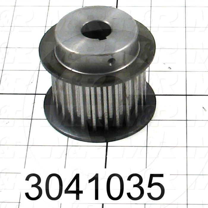 "Timing Belt Pulley, 0.75"" Bore Size, Cylindrical with Keyway Bore Type, GT Tooth Profile, 25 Teeth, 8 mm Pitch, 2.760"" Pitch Diameter, Steel Material, 36 mm Belt Width"