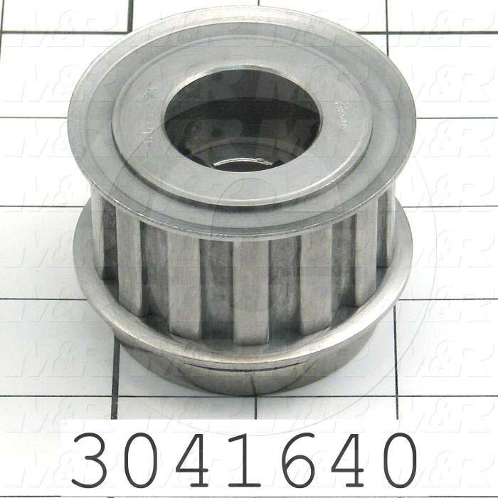 "Timing Belt Pulley, 0.75"" Bore Size, Split Taper  G Bushing Bore Type, H Tooth Profile, 14 Teeth, 0.50"" Pitch, 2.440"" Pitch Diameter, 1.25"" Height, Steel Material, 1.00"" Belt Width"