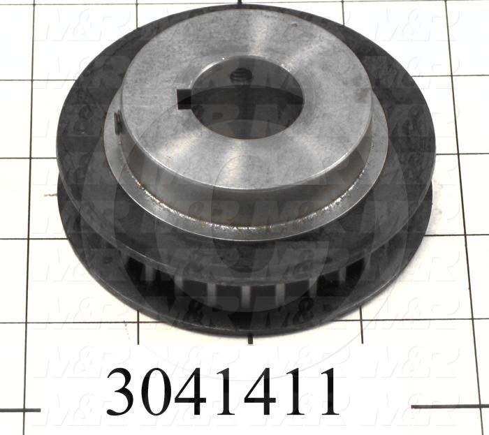 "Timing Belt Pulley, 1.00"" Bore Size, GT2 Tooth Profile, 30 Teeth, 8 mm Pitch, 3.450"" Pitch Diameter, Steel Material, 12 mm Belt Width"