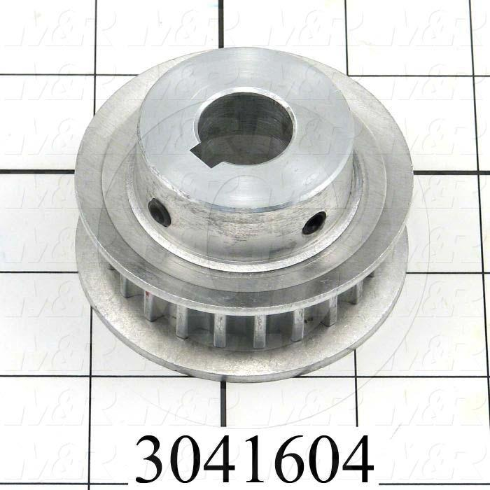 "Timing Belt Pulley, 18 MM Bore Size, GT Tooth Profile, 22 Teeth, 8 mm Pitch, 2.56"" Pitch Diameter, 1.46"" Height, Aluminum Material, 12 mm Belt Width"