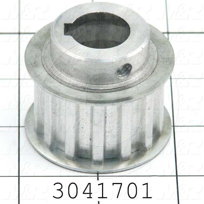 Timing Belt Pulley, 19 MM Bore Size, T10 Tooth Profile, 14 Teeth, 10 MM Pitch, 48 mm Pitch Diameter, Aluminum Material, 25 mm Belt Width