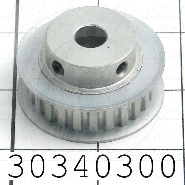 "Timing Belt Pulley, 3/8 in. Bore Size, XL Tooth Profile, 24 Teeth, 0.200 in. Pitch, A6A Pulley Type, 1.510"" Pitch Diameter, 0.906"" Height, Aluminum Material, 0.38"" Belt Width"