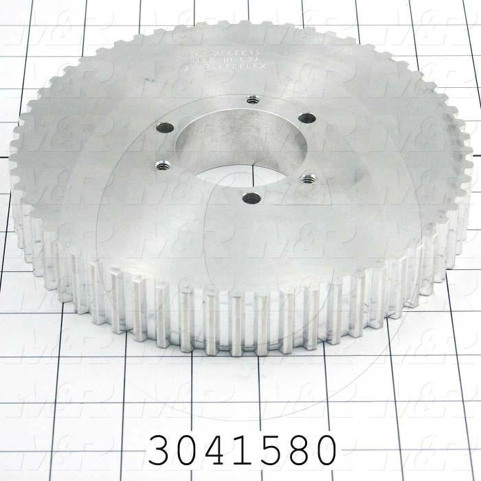 Timing Belt Pulley, Q-D SD Bushing Bore Type, T10 Tooth Profile, 60 Teeth, 10 MM Pitch, 189.15mm Pitch Diameter, 30 MM Height, Aluminum Material, 25 mm Belt Width