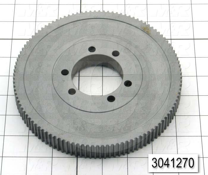 "Timing Belt Pulley, Q-D SDS Bushing Bore Type, HTD Tooth Profile, 112 Teeth, 5 mm Pitch, C1 Pulley Type, 6.980"" Pitch Diameter, 0.84"" Height, Steel Material, 15 mm Belt Width"