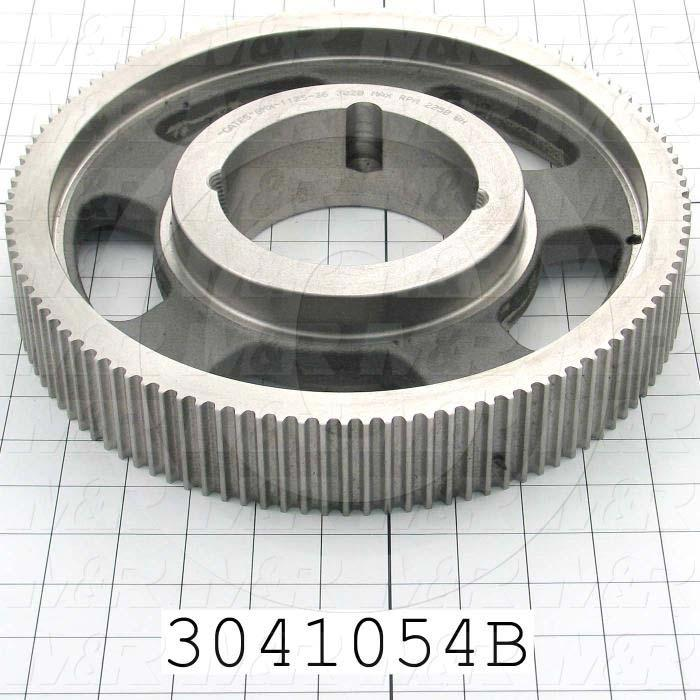 Timing Belt Pulley, Taper Lock Bushing Bore Type, 112 Teeth, 8 mm Pitch, Steel Material, 36 mm Belt Width