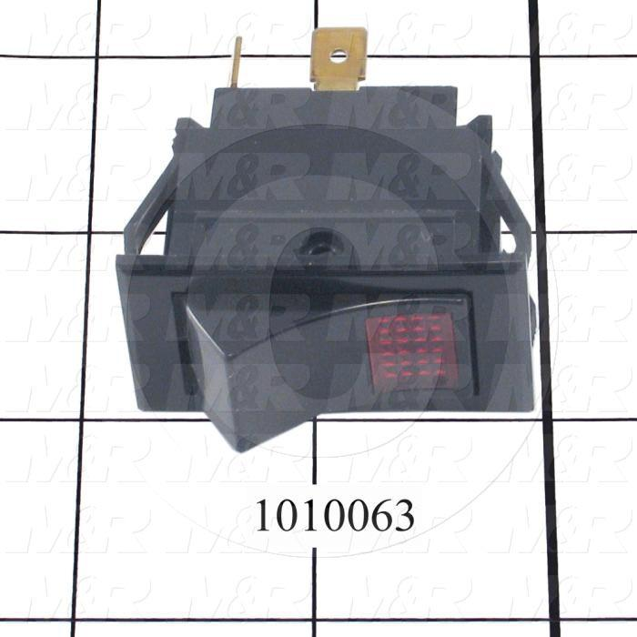 Toggle Switch, Maintained, ON-NONE-OFF, Led Red, 125VAC, 15A