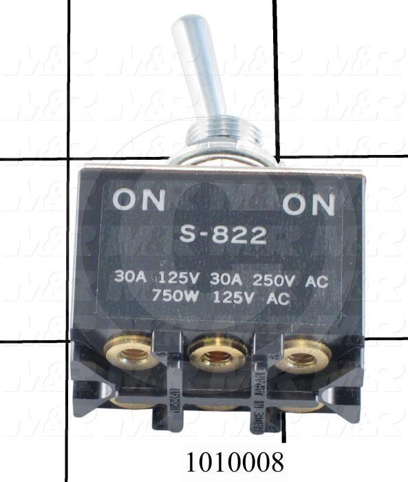 Toggle Switch, ON-NONE-ON, 2 Positions, DPDT, 250VAC, 30A