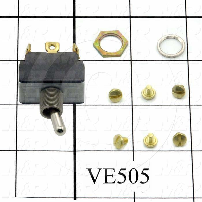 Toggle Switch, ON-NONE-ON, DPDT, 125VAC, 15A, Srew Terminals