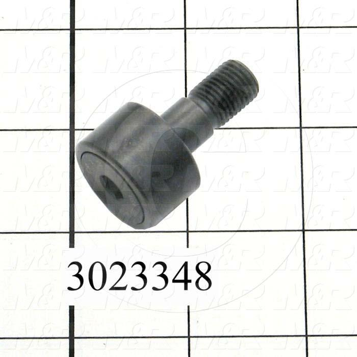 "Track Rollers, ANSI, Crowned Type, 0.75"" Roller Diameter, Standard Stud Type, 0.50"" Roller Width, 0.375"" Stud Diameter, Needle Rolling Element, Hex Hole Mounting Type, Sealed Seal Type"
