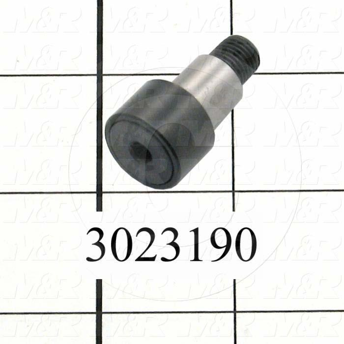 "Track Rollers, ANSI, Cylinder Type, 0.75"" Roller Diameter, Eccentric Stud Type, 0.50"" Roller Width, 0.50"" Stud Diameter, Needle Rolling Element, Hex Hole Mounting Type, Open Seal Type"