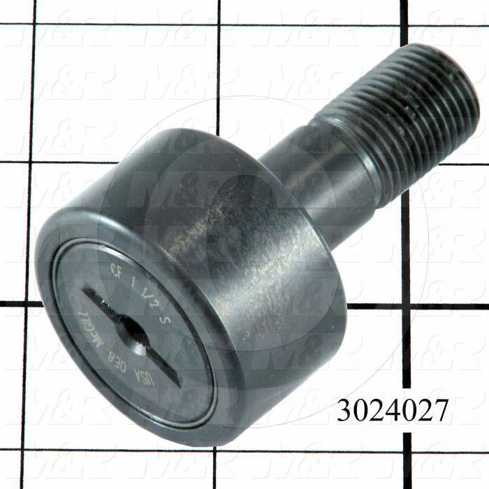 "Track Rollers, ANSI, Cylinder Type, 1.50"" Roller Diameter, Standard Stud Type, 0.875"" Roller Width, 0.625 in. Stud Diameter, Needle Rolling Element, Slotted Hole Mounting Type"