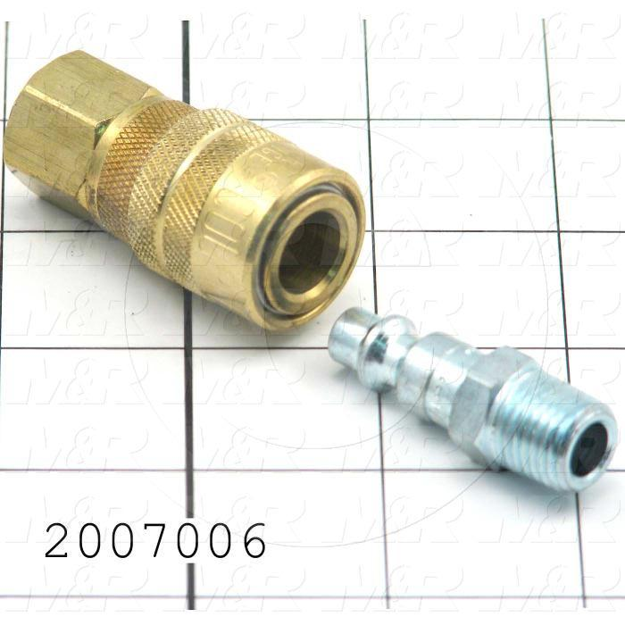 "Tube Compression Fittings, Quick Disconnect Coupler Set Type, 1/4"" Tube OD, 1/4"" In, 1/4"" Out"