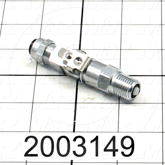 "Tube Compression Fittings, Quick Disconnect Coupler Type, Tube to Threaded Pipe Connector, 3/8"" Tube OD, 1/2-24 UNF Thread size, Chrome Plated Brass Material"