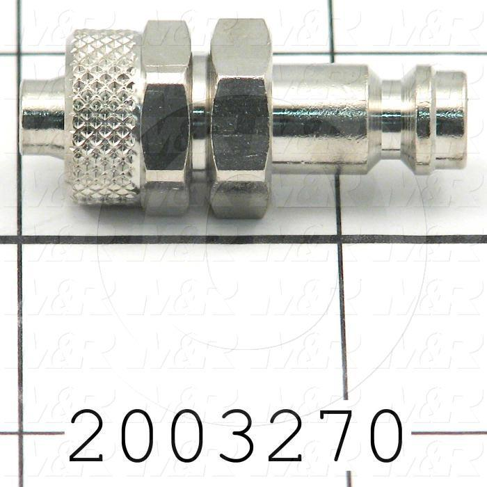Tube Compression Fittings, Quick Disconnect Plug Type, 8 mm Tube OD, Brass Material