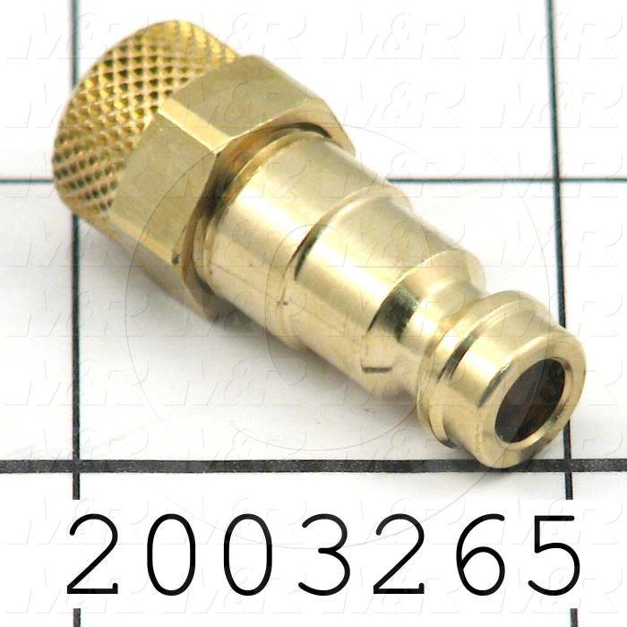 "Tube Compression Fittings, Quick Disconnect Plug Type, Hose To Connector, 1/4"" In, Quick Disconnect Plug Out, Brass Material"
