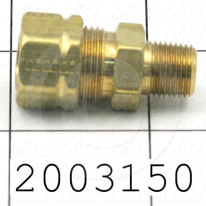 "Tube Compression Fittings, Straight Type, Tube to Threaded Pipe Connector, 3/8"" Tube OD, 1/8"" NPTF Thread size, Brass Material"