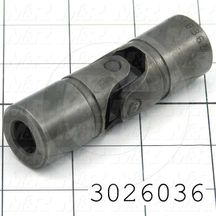 "Universal Joint, Type Single Joint, Hub # 1 Bore 1/2"", Hub # 2  Outer Diameter 1.00"", Hub # 2 Bore 1/2"", Hub # 2  Outer Diameter 1.00"", Overall Length 3.38 in., Material Steel"