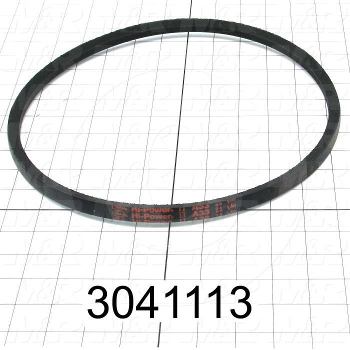 """V-Belts, A V-Belt Type, A33 Trade Size, 35"""" Outside Length"""